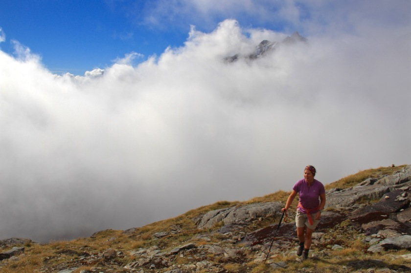 Hiking above the clouds, Mount Armstrong, Mount Aspiring National Park, NZ