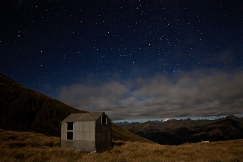 Brewster Bivvy & Southern Alps under moonlight and stars, Mount Aspiring National Park