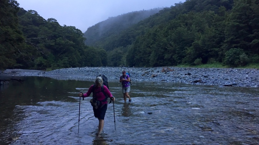 Hikers cross the Haast River, Mount Aspiring National Park NZ