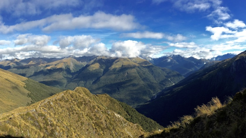 Panorama of Mount Aspiring National Park and the Haast Pass from the Mt Brewster Track