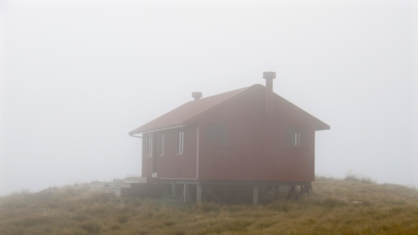 Brewster Hut in thick, low cloud
