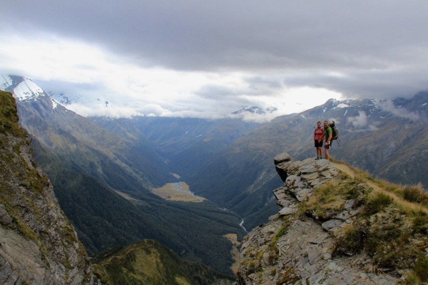 Hikers with a view of Mount Aspiring National Park New Zealand