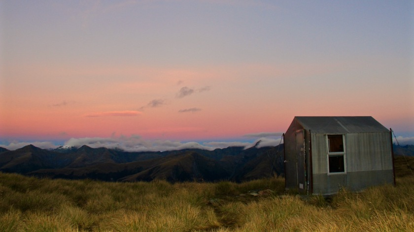 Brewster Bivvy at sunrise, Mount Aspiring National Park, NZ
