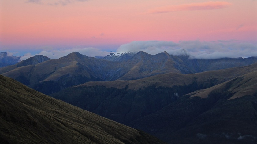 Haast Pass and the Southern Alps at sunrise, Mount Aspiring National Park, NZ