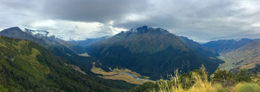 Panorama of the West Matukituki Valley in Mount Aspiring National Park New Zealand