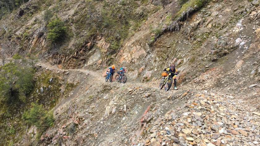 Mountain bikers on the Old Ghost Road, West Coast NZ