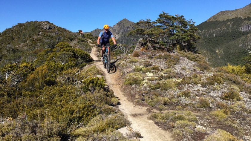 Mountain Biker on the Old Ghost Road, West Coast NZ