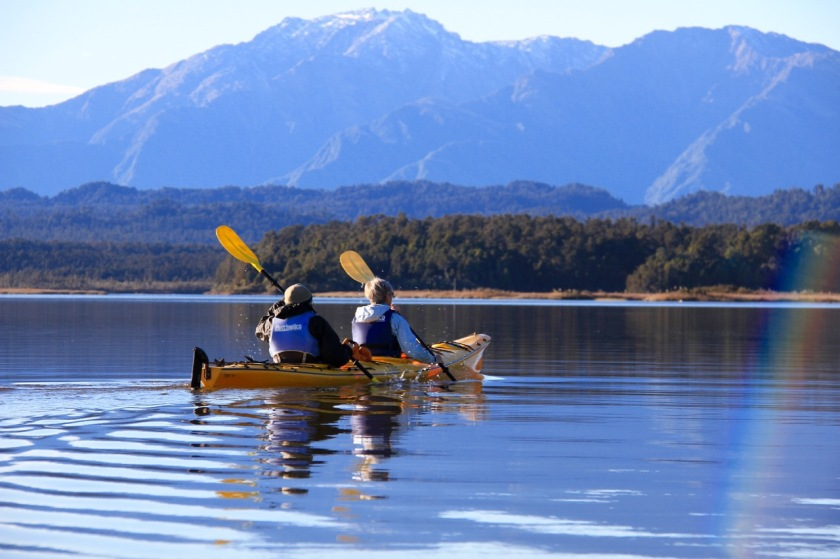 Kayaking on Okarito Lagoon, West Coast New Zealand