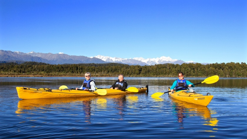 Kayaking on the West Coast with views of Mt Cook, West Coast New Zealand