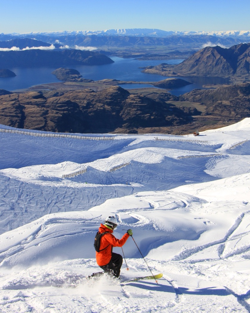 Skier at Treble Cone Ski Area Wanaka New Zealand
