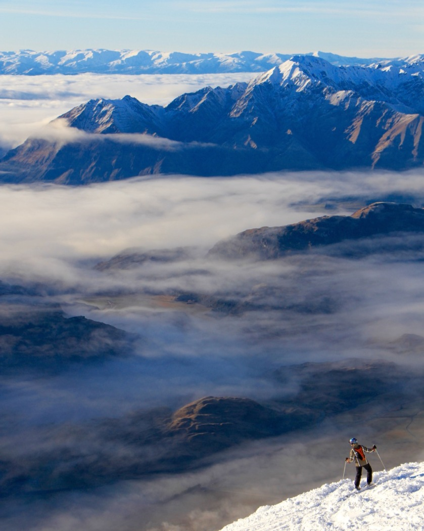 Treble Cone ski area view over Lake Wanaka New Zealand