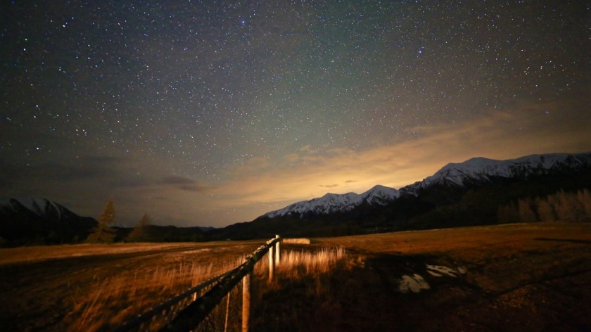 The night sky over the Torlesse Range, Castle Hill, New Zealand
