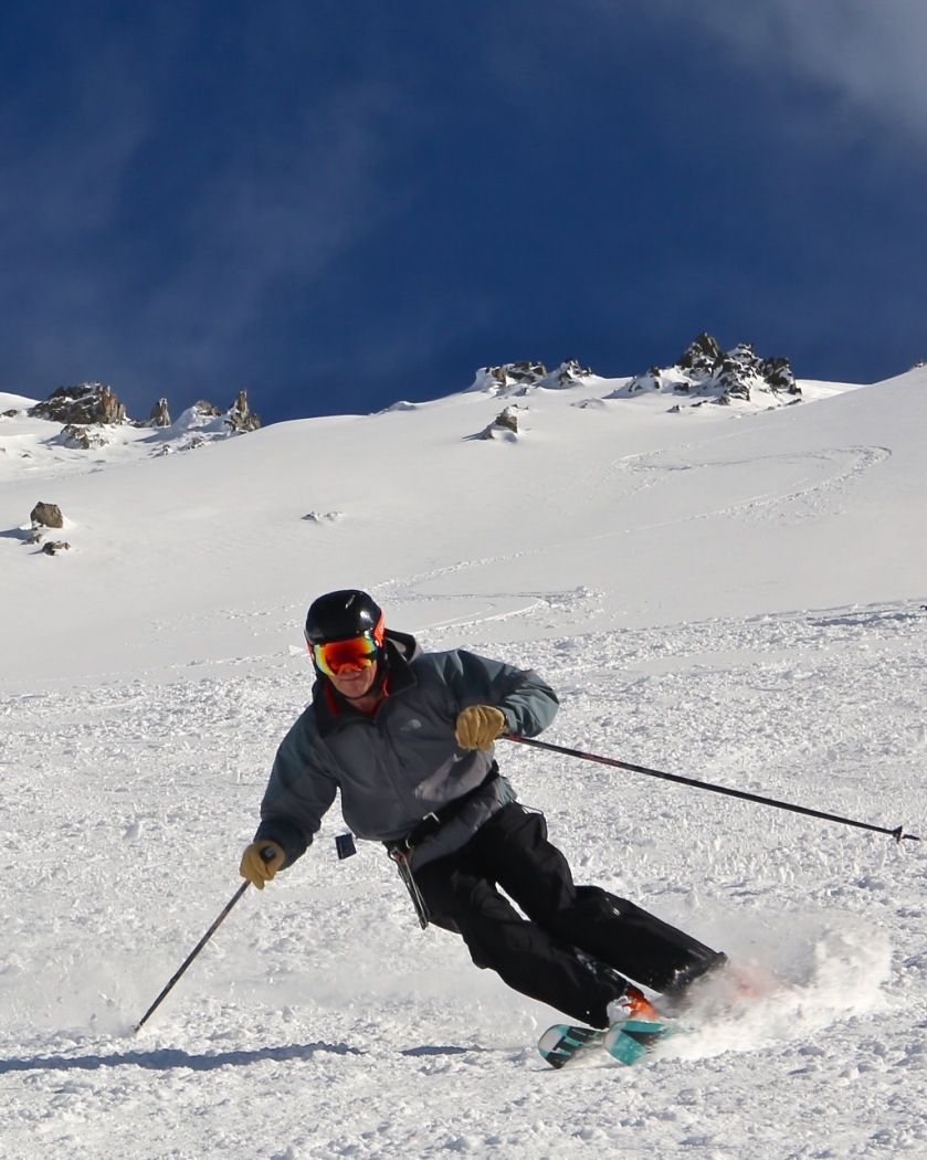 A skier at Craigieburn Valley Ski Area, Canterbury, New Zealand