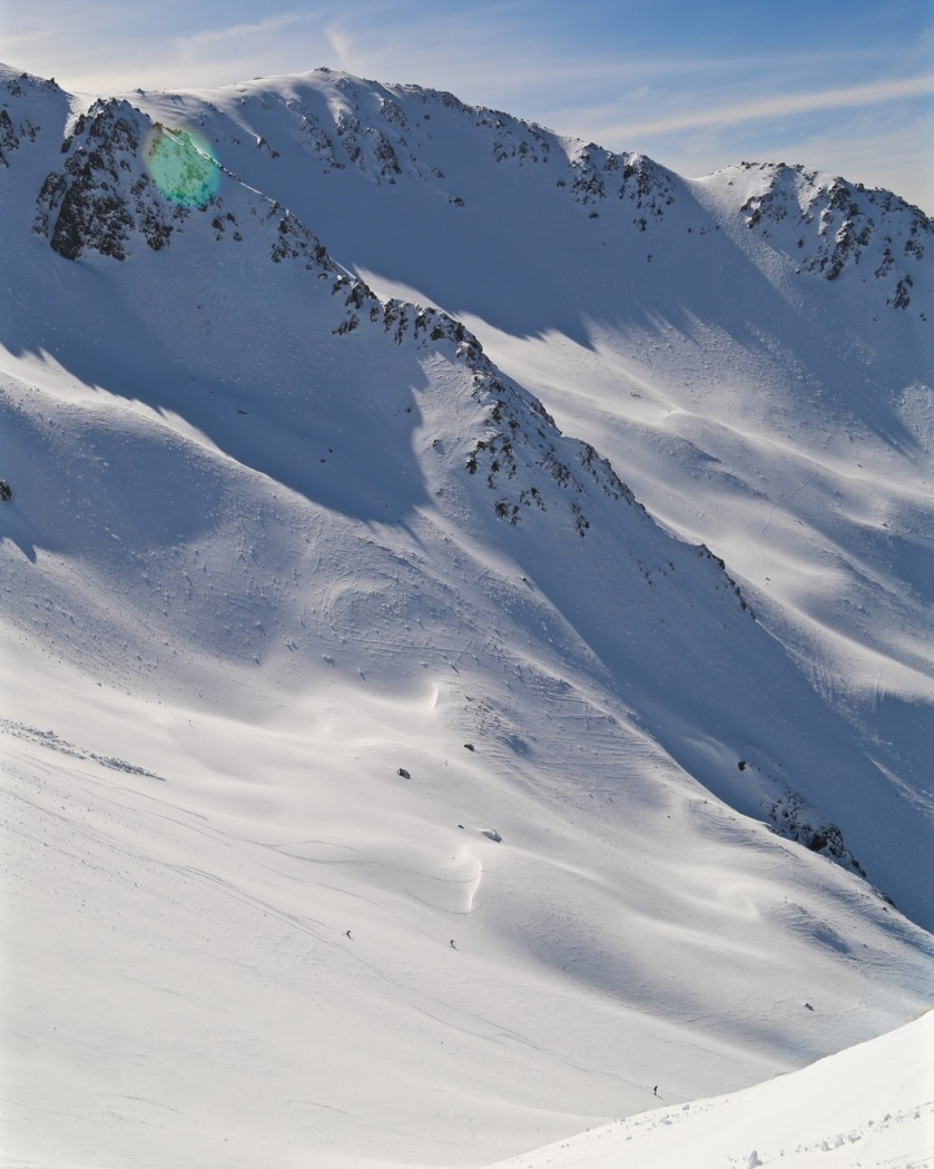 Skiers at Craigieburn Valley Ski Area, Canterbury, New Zealand