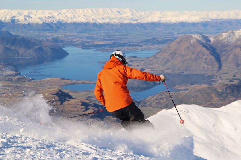 Skier at Treble Cone Lake Wanaka New Zealand