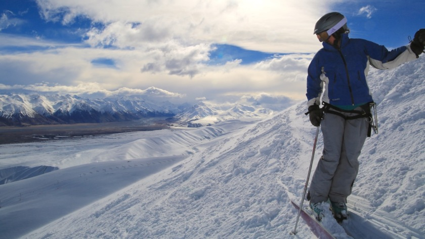 A skier at Roundhill Ski Area, Canterbury, New Zealand