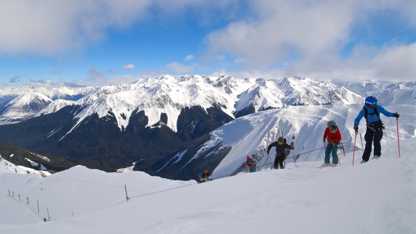 Skiers at Broken River Ski Area, Canterbury, New Zealand