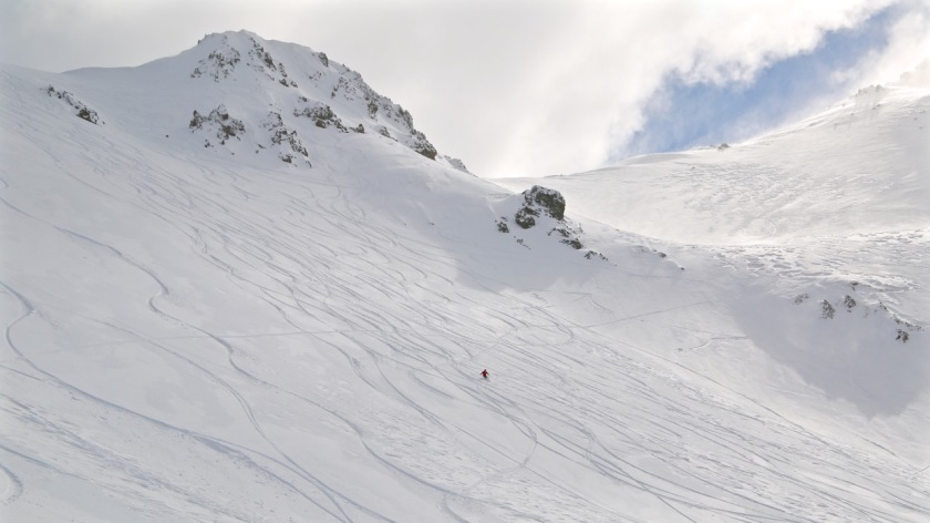 Skier at Broken River Ski Area, Canterbury, New Zealand