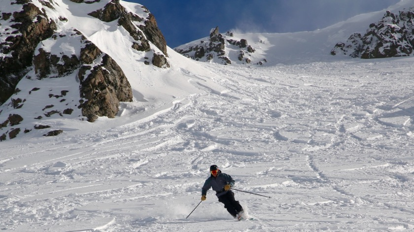 Skier at Broken River Ski Area, New Zealand