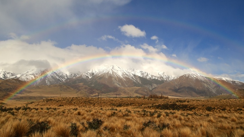 Double Rainbow, over the Southern Alps New Zealand