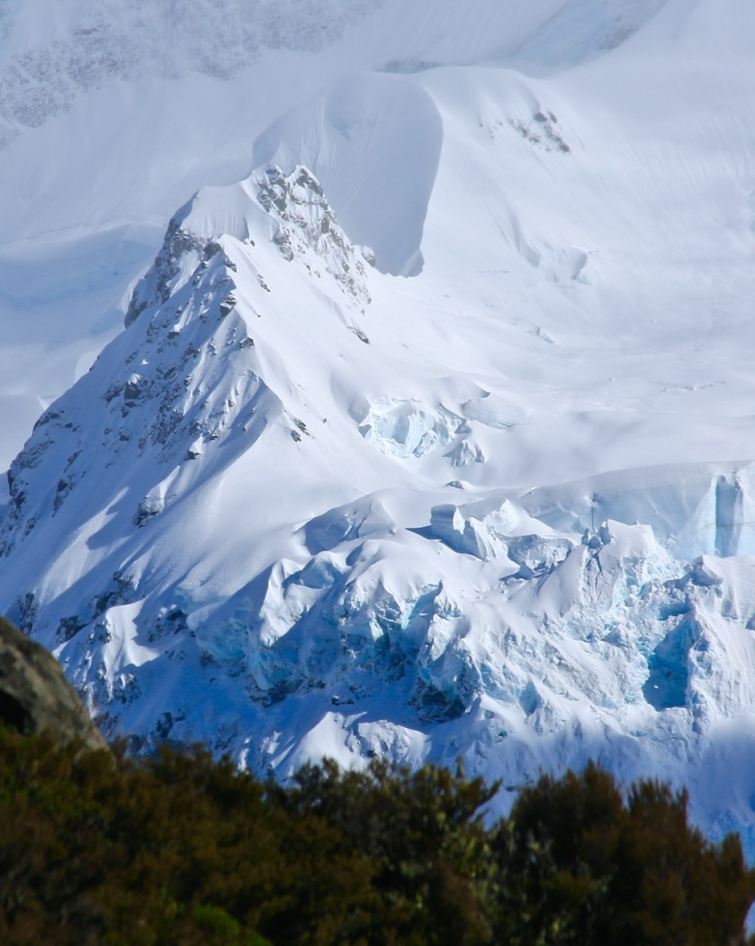 Glacial ice on Mt Sefton, Mount Cook National Park, NZ