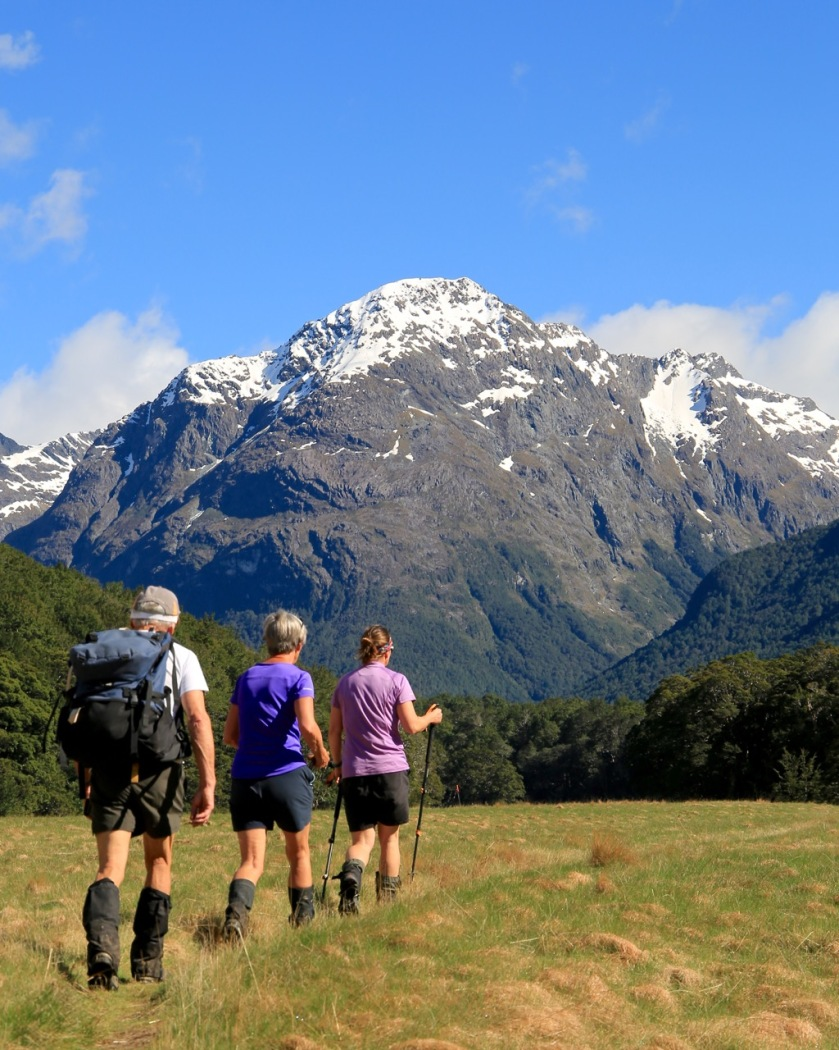 Hikers in the Caples Valley, Mount Aspiring National Park, New Zealand