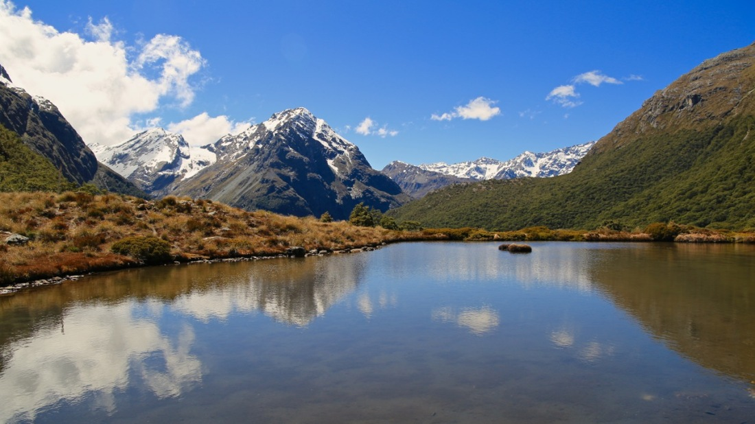 Mountain reflections in an alpine tarn at McKellar Saddle, Greenstone - Caples Track, Mount Aspiring National Park, New Zealand