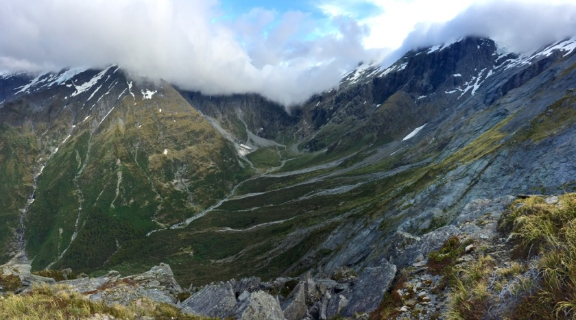 A panorama of the headwaters of the West Matukituki Valley Mt Aspiring National Park