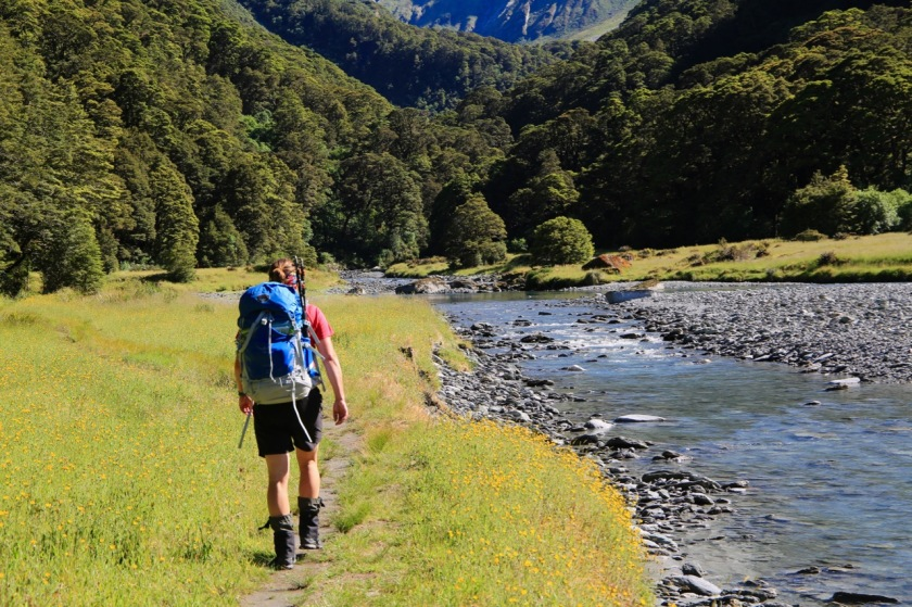 A hiker in Mt Aspiring National Park NZ