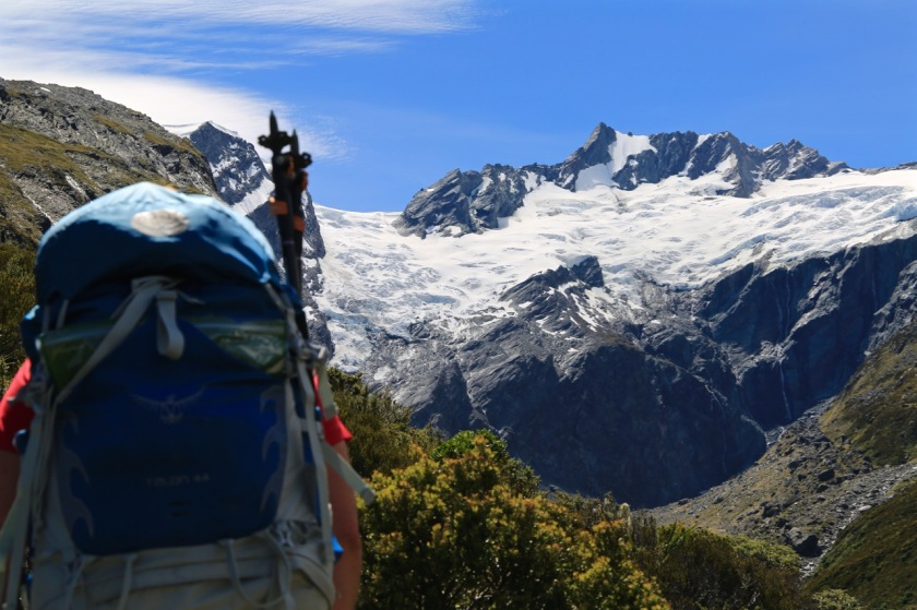 A hiker near Mt Avalanche & Maud Francis Glacier, Mt Aspiring National Park NZ