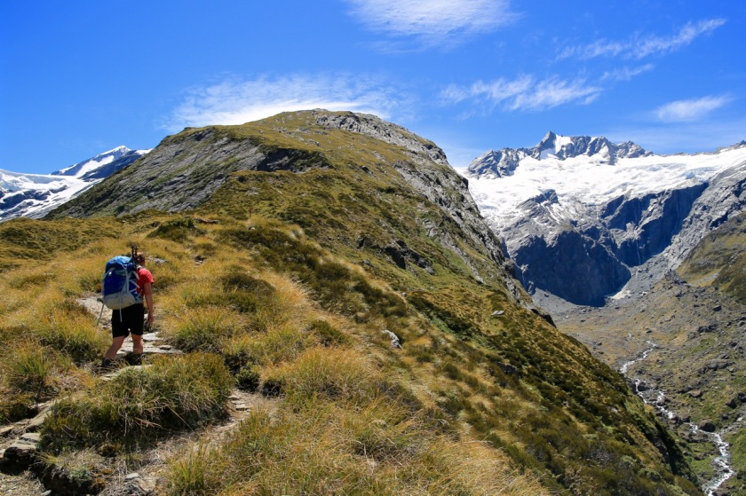 Tramping on French Ridge, Mt Aspiring National Park, NZ