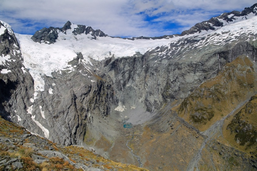 Mount Avalanche and the Maud Francis Glacier at the head of Gloomy Gorge, Mt Aspiring National Park NZ