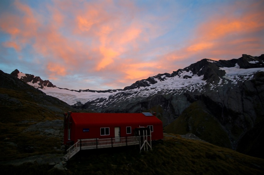 French Ridge Hut at sunset. Mount Aspiring National Park NZ