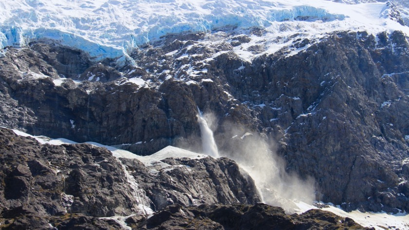 Avalanche on the Rob Roy Glacier, Wanaka, Mt Aspiring National Park, New Zealand
