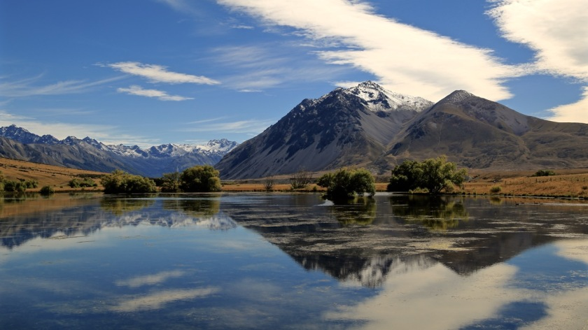 Mountains reflections in the Ahuriri Valley, NZ