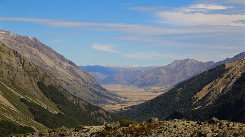 The view down Canyon Creek to the Ahuriri Valley, Southern Alps, New Zealand