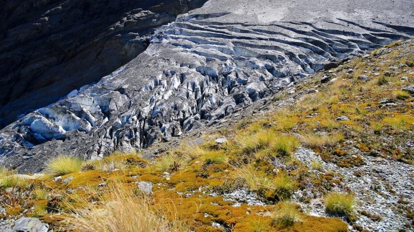 Moraine wall of the Rob Roy Glacier, Wanaka, Mt Aspiring National Park, New Zealand