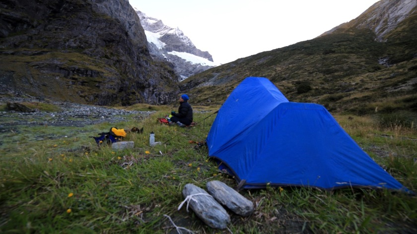Camping beneath the Rob Roy Glacier, Wanaka, Mt Aspiring National Park, New Zealand
