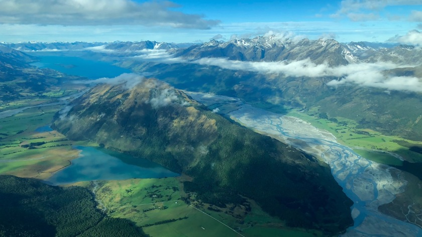 Aerial view of Glenorchy and Mt Alfred, Queenstown New Zealand