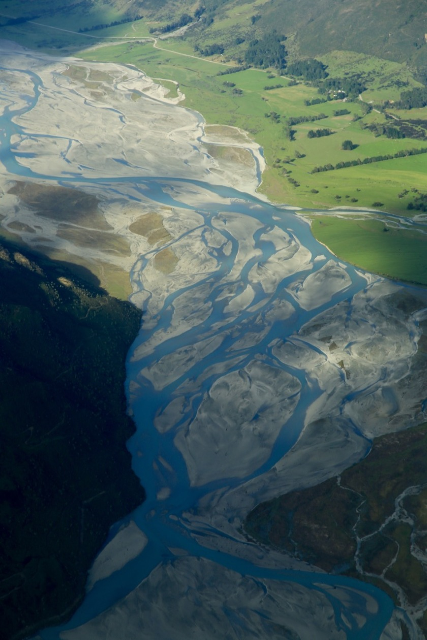 The braided channels of the Dart River near Glenorchy.