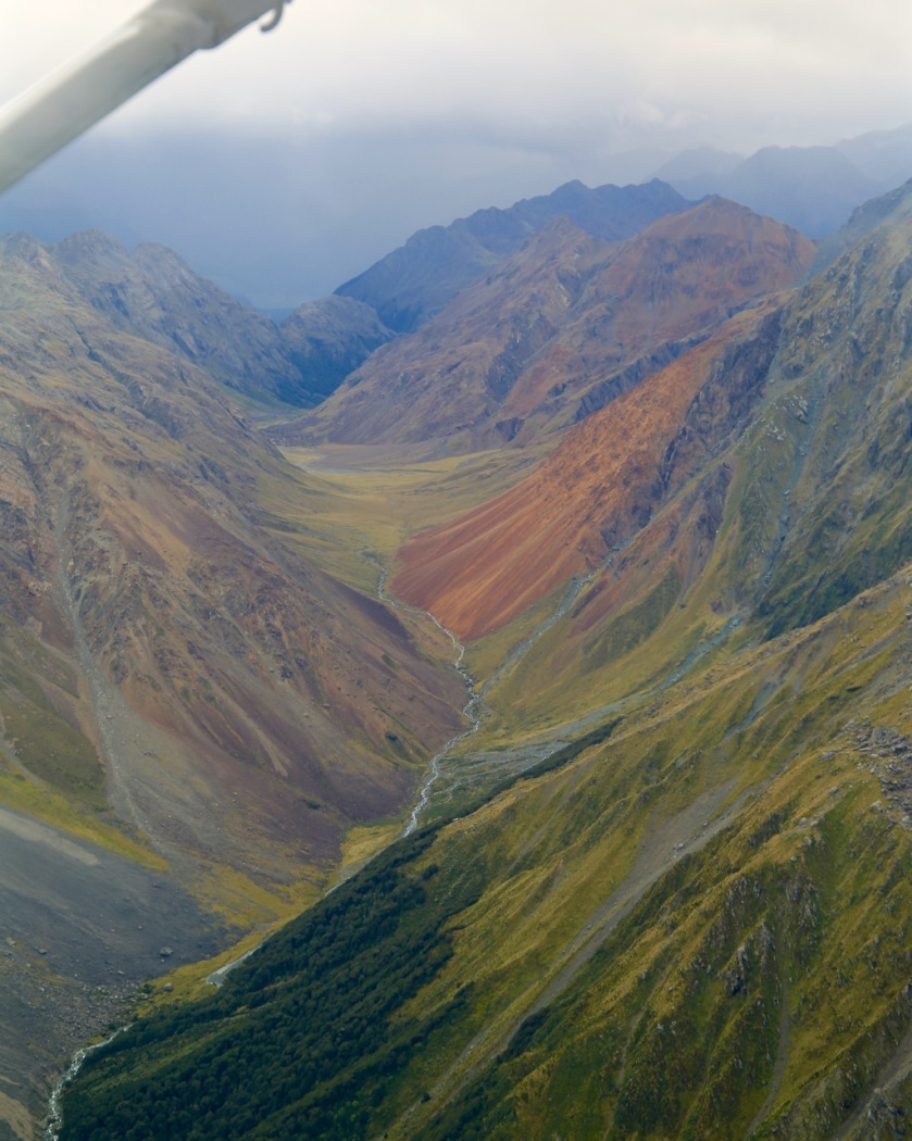 Rainbow coloured valley, Southern Alps, New Zealand