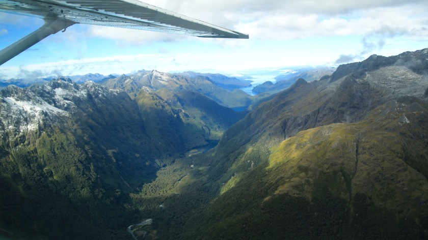 Glacial carved valley, and view of Lake Te Anau, Fiordland, New Zealand