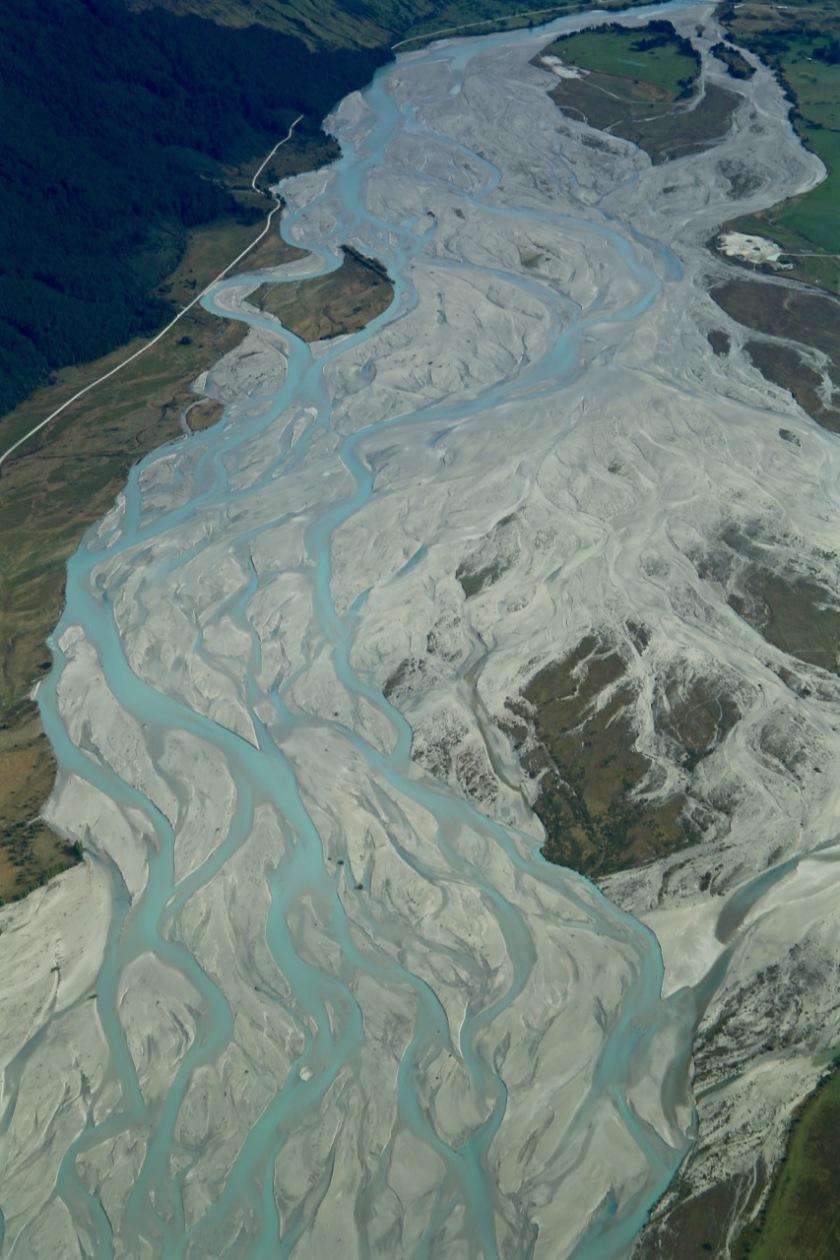 The braided Dart River near Queenstown, New Zealand