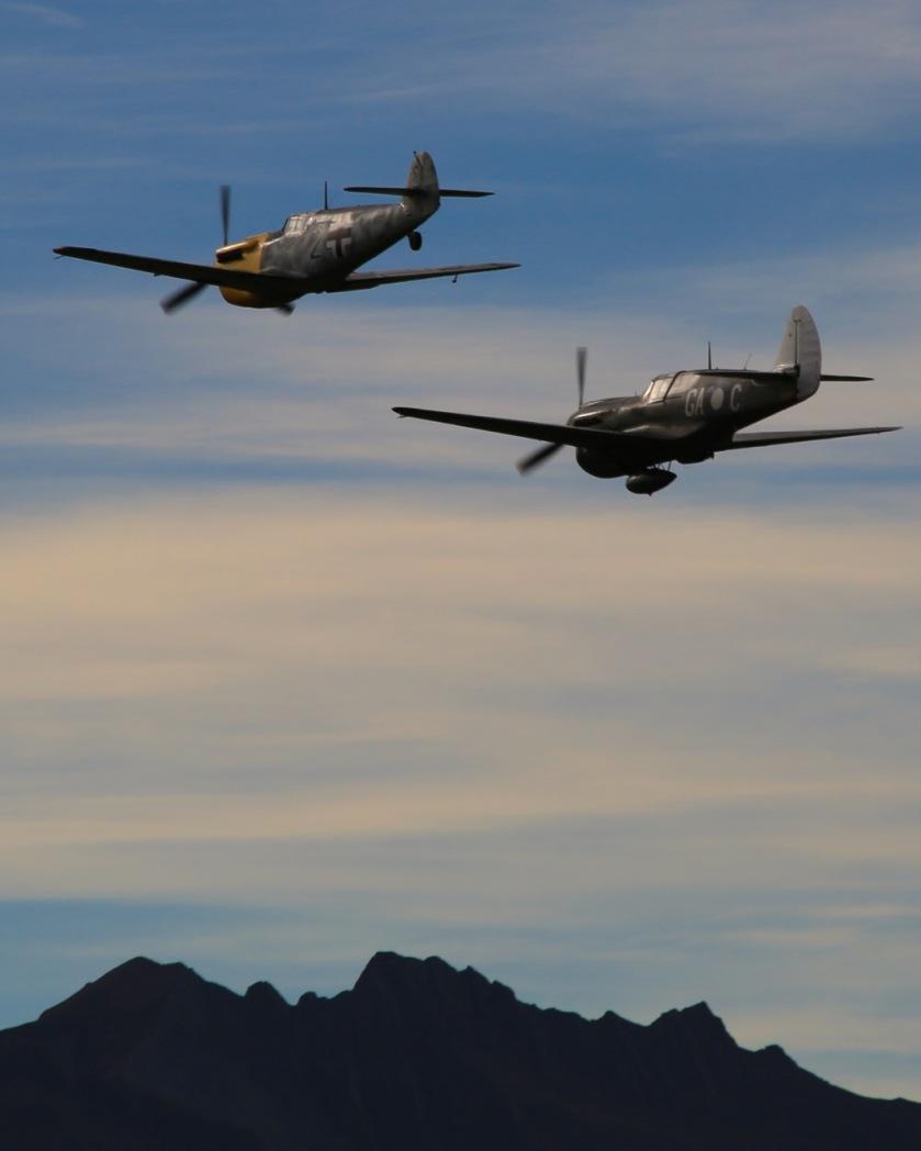 Curtiss P-40 Kittyhawk & ME-109 at Warbirds Over Wanaka Air Show