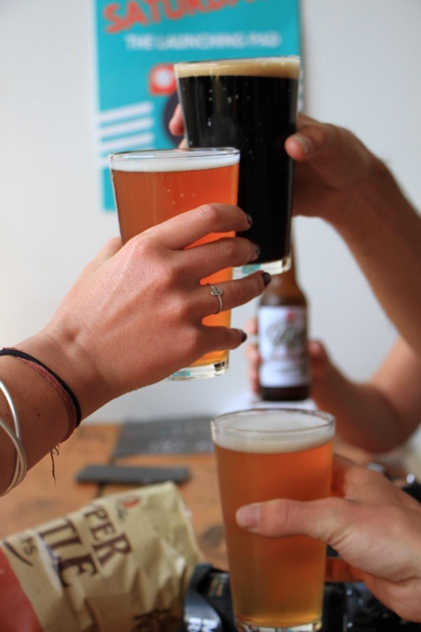 Pints of beer at Rhyme & Reason Brewery, Wanaka NZ