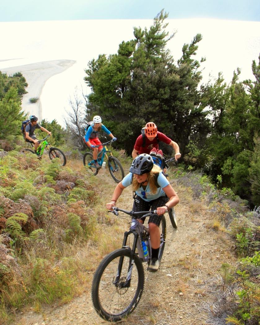 Mountain bikers in Lake Wanaka, NZ