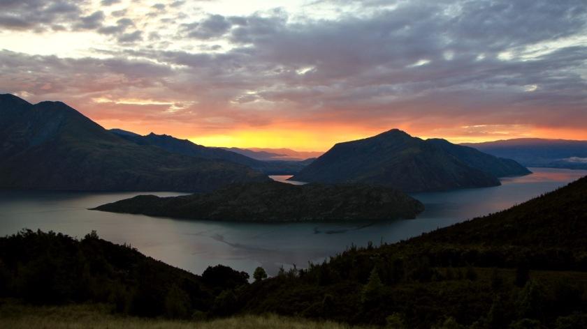 Sunrise over Mou Waho Island, Lake Wanaka NZ