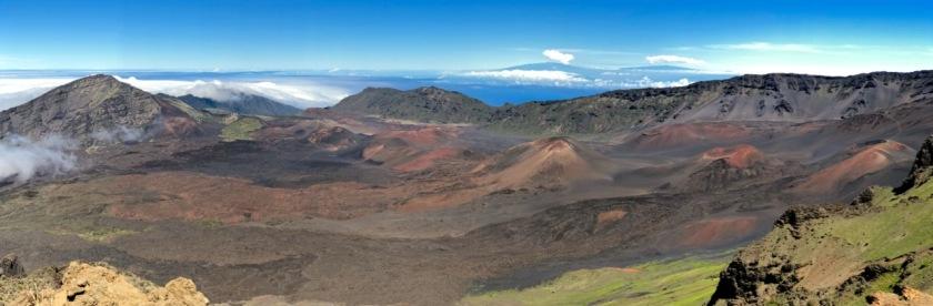 Panorama of the Haleakala Volcano on Maui with views across to the Big Island of Hawaii