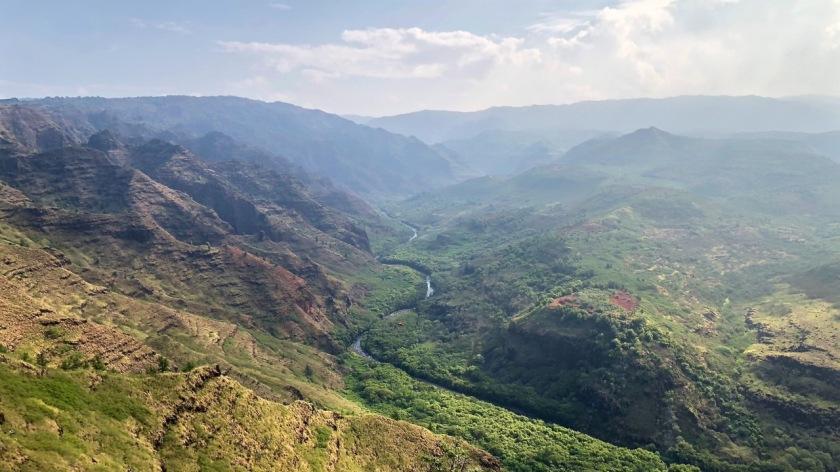 Meadering river near Waimea Canyon, Kauai, Hawaii