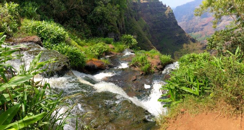 View from the top of Waipo'o Falls, Waimea Canyon, Kauai, Hawaii